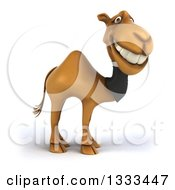 Clipart Of A 3d Business Camel Grinning And Facing Right Royalty Free Illustration