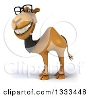 Clipart Of A 3d Bespectacled Business Camel Facing Left And Grinning Royalty Free Illustration