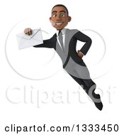 Clipart Of A 3d Happy Young Black Businessman Flying And Holding An Envelope Royalty Free Illustration