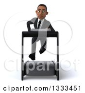 Clipart Of A 3d Young Black Businessman Sprinting On A Treadmill Royalty Free Illustration