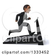 Clipart Of A 3d Happy Young Black Businessman Facing Right And Sprinting On A Treadmill Royalty Free Illustration