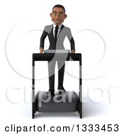 Clipart Of A 3d Happy Young Black Businessman Walking On A Treadmill Royalty Free Illustration