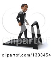 Clipart Of A 3d Happy Young Black Businessman Facing Right Walking On A Treadmill Royalty Free Illustration