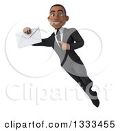 Clipart Of A 3d Happy Young Black Businessman Flying Holding And Pointing To An Envelope Royalty Free Illustration