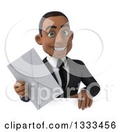 Clipart Of A 3d Happy Young Black Businessman Holding An Envelope Over A Sign Royalty Free Illustration