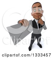 Clipart Of A 3d Happy Young Black Businessman Thinking And Holding Up An Envelope Royalty Free Illustration