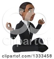 Clipart Of A 3d Happy Young Black Businessman Facing Slightly Right And Meditating Royalty Free Illustration
