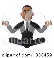 Clipart Of A 3d Happy Young Black Businessman Meditating Royalty Free Illustration