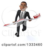 Clipart Of A 3d Happy Young Black Businessman Sprinting With A Giant Toothbrush Royalty Free Illustration
