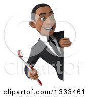 Clipart Of A 3d Happy Young Black Businessman Holding A Giant Toothbrush And Looking Around A Sign Royalty Free Illustration