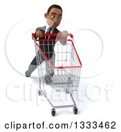 Clipart Of A 3d Young Black Businessman Struggling With A Shopping Cart Royalty Free Illustration