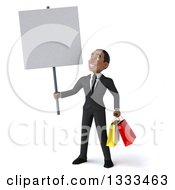 Clipart Of A 3d Happy Young Black Businessman Holding Shopping Bags And A Blank A Sign Royalty Free Illustration