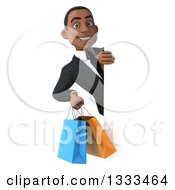 Clipart Of A 3d Happy Young Black Businessman Holding Shopping Bags Around A Sign Royalty Free Illustration
