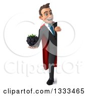 Clipart Of A 3d Happy Full Length Young White Super Businessman Holding A Blackberry And Looking Around A Sign Royalty Free Illustration