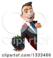 Clipart Of A 3d Happy Young White Super Businessman Holding A Blackberry Around A Sign Royalty Free Illustration