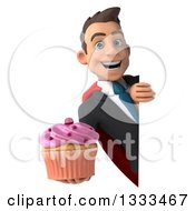 Clipart Of A 3d Happy Young White Super Businessman Holding A Cupcake Around A Sign Royalty Free Illustration