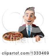 Clipart Of A 3d Happy Young White Super Businessman Holding A Pizza Over A Sign Royalty Free Illustration