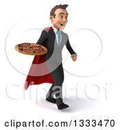 Clipart Of A 3d Happy Young White Super Businessman Walking Slightly Right And Holding A Pizza Royalty Free Illustration