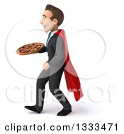Clipart Of A 3d Happy Young White Super Businessman Walking To The Left And Holding A Pizza Royalty Free Illustration