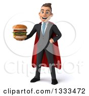 Clipart Of A 3d Happy Young White Super Businessman Holding A Double Cheeseburger Royalty Free Illustration