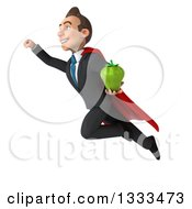 Clipart Of A 3d Happy Young White Super Businessman Holding A Green Bell Pepper And Flying Royalty Free Illustration