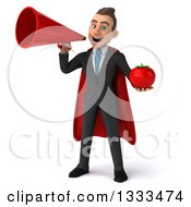 Clipart Of A 3d Happy Young White Super Businessman Holding A Tomato And Announcing With A Megaphone Royalty Free Illustration