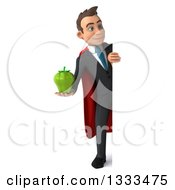 Clipart Of A 3d Happy Full Length Young White Super Businessman Holding A Green Bell Pepper And Looking Around A Sign Royalty Free Illustration