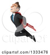 Clipart Of A 3d Happy Young White Super Businessman Flying Royalty Free Illustration