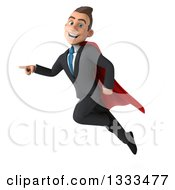 Clipart Of A 3d Happy Young White Super Businessman Flying And Pointing Royalty Free Illustration