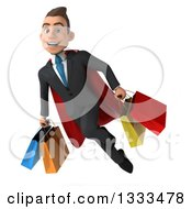 Clipart Of A 3d Happy Young White Super Businessman Flying And Holding Shopping Bags Royalty Free Illustration
