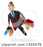 Clipart Of A 3d Happy Young White Super Businessman Flying And Holding Shopping Bags 2 Royalty Free Illustration