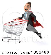 Clipart Of A 3d Happy Young White Super Businessman Flying With A Shopping Cart Royalty Free Illustration