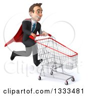 Clipart Of A 3d Happy Young White Super Businessman Sprinting To The Right With A Shopping Cart Royalty Free Illustration