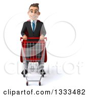 Clipart Of A 3d Happy Young White Super Businessman With A Shopping Cart Royalty Free Illustration