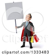 Clipart Of A 3d Happy Young White Super Businessman Holding Shopping Bags And A Blank Sign Royalty Free Illustration