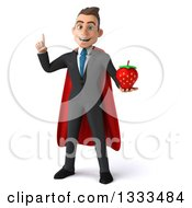 Clipart Of A 3d Happy Young White Super Businessman Holding Up A Finger And A Strawberry Royalty Free Illustration