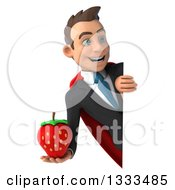 Clipart Of A 3d Happy Young White Super Businessman Holding A Strawberry And Looking Around A Sign Royalty Free Illustration
