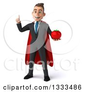 Clipart Of A 3d Happy Young White Super Businessman Holding Up A Finger And A Tomato Royalty Free Illustration