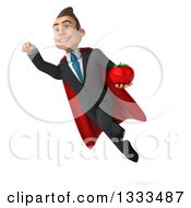 Clipart Of A 3d Happy Young White Super Businessman Holding A Tomato And Flying Royalty Free Illustration
