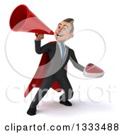 Clipart Of A 3d Happy Young White Super Businessman Holding A Beef Steak And Using A Megaphone Royalty Free Illustration
