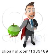 Clipart Of A 3d Happy Young White Super Businessman Holding Up A Green Apple Royalty Free Illustration
