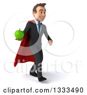 Clipart Of A 3d Happy Young White Super Businessman Walking Slightly Right And Holding A Green Apple Royalty Free Illustration