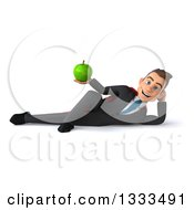 Clipart Of A 3d Happy Young White Super Businessman Resting On His Side And Holding A Green Apple Royalty Free Illustration