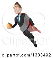 Clipart Of A 3d Happy Young White Super Businessman Flying And Holding A Navel Orange Royalty Free Illustration