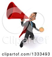 Clipart Of A 3d Happy Young White Super Businessman Holding A Navel Orange And Announcing Upwards With A Megaphone Royalty Free Illustration