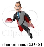 Clipart Of A 3d Happy Young White Super Businessman Holding A Beef Steak And Flying Royalty Free Illustration