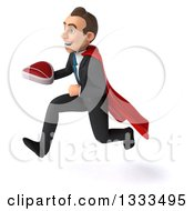 Clipart Of A 3d Happy Young White Super Businessman Holding A Beef Steak And Sprinting To The Left Royalty Free Illustration