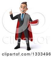 Clipart Of A 3d Happy Young White Super Businessman Holding Up A Finger And A Beef Steak Royalty Free Illustration