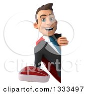 Clipart Of A 3d Happy Young White Super Businessman Holding A Beef Steak Around A Sign Royalty Free Illustration