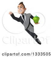 Clipart Of A 3d Happy Young White Businessman Flying And Holding A Green Bell Pepper Royalty Free Illustration